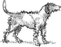 Linha cão ereto da arte ilustração royalty free
