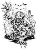 Linha cômica arte do zombi Imagens de Stock Royalty Free