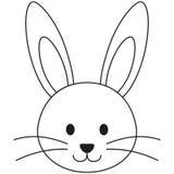 Linha cartaz preto e branco do ícone da cara do coelho do coelho da arte ilustração royalty free