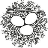 Linha cartaz preto e branco do ícone do ninho do ovo da arte ilustração royalty free