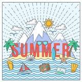 Linha cartão ou ilustração lisa de verão da cor do vetor do estilo com ilha, oceano, montanhas, Palmtrees, Shell, iate e curso Fotografia de Stock