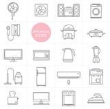 Linha cenografia do vetor do ícone dos aparelhos eletrodomésticos Imagens de Stock