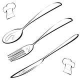 Linha chapéu da cutelaria, da forquilha, da faca, da colher e do cozinheiro chefe da arte Fotos de Stock
