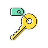 Linha chave ícone com uma etiqueta Fotografia de Stock Royalty Free