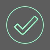 Linha circular ícone da marca de verificação Sinal colorido redondo aprovado Símbolo liso do vetor do estilo Imagens de Stock