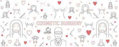 Linha cirurgia plástica do infographics, bandeira da cirurgia estética Sinais do aumento do peito ilustração royalty free