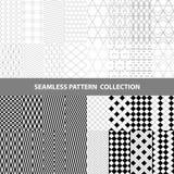 Linha clássica branca preta coleção sem emenda geométrica do projeto do teste padrão do sumário do vetor do ziguezague Fotos de Stock