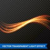 Linha clara efeito do redemoinho do ouro Traço do alargamento do fogo da luz do brilho do vetor ilustração royalty free