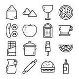 A linha coleção do ícone relacionou alimentos ilustração royalty free