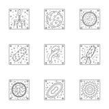 Linha coleção dos micro-organismos dos ícones Imagem de Stock Royalty Free