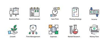 Linha colorida ícone de negócio e de finança Fotos de Stock Royalty Free
