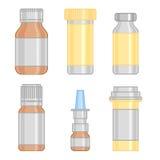 Linha colorida ícones da garrafa da droga ajustados Foto de Stock