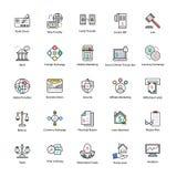 Linha colorida ícones de negócio e de finança Fotografia de Stock