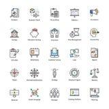 Linha colorida ícones de negócio e de finança Foto de Stock Royalty Free