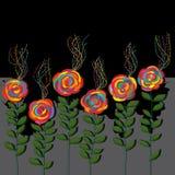Linha colorida cartão da flor do estilo Fotografia de Stock Royalty Free
