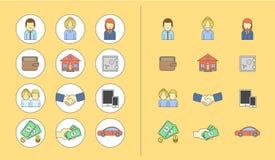 Linha colorida grupo do ícone Tema do negócio Foto de Stock