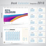 Linha colorida molde do calendário de mesa 2016 do projeto do sumário para a ilustração do vetor do escritório para negócios Foto de Stock