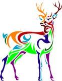 Linha colorida projetada imagem do veado da arte ilustração royalty free