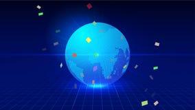Linha composição do ponto do mapa de Worl que representa o significado internacional da conexão de rede global Imagem de Stock