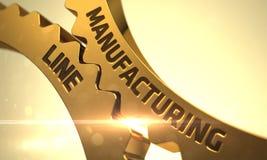 Linha conceito da fabricação Engrenagens douradas 3d Fotos de Stock