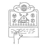 Linha conceito de projeto do estilo da casa esperta, infraestrutura de rede, conectando tudo Imagens de Stock