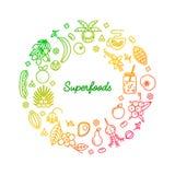 Linha conceito de Superfoods Foto de Stock Royalty Free