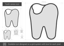 Linha ícone da cárie do dente Fotos de Stock