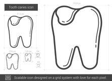 Linha ícone da cárie do dente Imagem de Stock