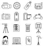 Linha ícones da fotografia ajustados Foto de Stock Royalty Free