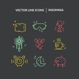 Linha ícones da insônia Imagem de Stock