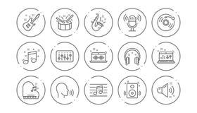 Linha ?cones da m?sica Guitarra, nota musical e fones de ouvido Grupo linear do ?cone Vetor ilustração stock
