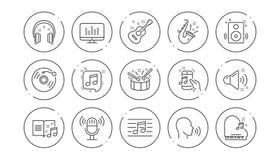 Linha ?cones da m?sica Guitarra, nota musical e fones de ouvido Grupo linear do ?cone Vetor ilustração royalty free