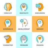 Linha ícones da mente humana ajustados Imagens de Stock Royalty Free
