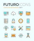 Linha ícones do futuro dos trabalhos em rede do computador Imagens de Stock