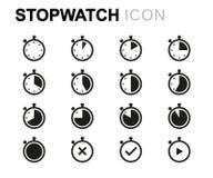 Linha ícones do vetor do cronômetro ajustados Foto de Stock