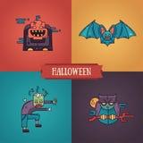 Linha ícones modernos dos caráteres de Dia das Bruxas do projeto liso ajustados Foto de Stock Royalty Free