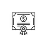 Linha conservada em estoque ícone do certificado de parte, sinal do vetor do esboço, pictograma linear isolado no branco Fotografia de Stock Royalty Free