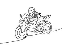 Linha contínua mulher que monta uma ilustração rápida do vetor da motocicleta ilustração stock