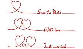 A linha corações salvar a data - com o amor - apenas casado Imagens de Stock Royalty Free
