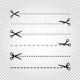 Linha corte das tesouras ilustração royalty free