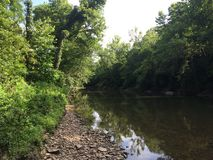 Linha costeira azul do rio Fotos de Stock Royalty Free