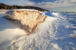 Linha costeira congelada de lago Michigan Fotografia de Stock