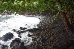Linha costeira litoral bonita em Havaí com as ondas que deixam de funcionar lentamente na costa fotografia de stock royalty free