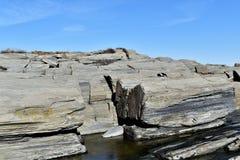 A linha costeira rochosa de Elizabeth do cabo no cabo Elizabeth, o Condado de Cumberland, Maine, Nova Inglaterra, E.U. foto de stock royalty free