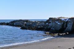 A linha costeira rochosa de Elizabeth do cabo, cabo Elizabeth, o Condado de Cumberland, Maine, E.U. fotos de stock