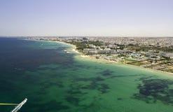 Linha costeira tunisina - vista do pára-quedas Fotos de Stock Royalty Free