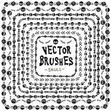 Linha crânio da coleção do Grunge da escova ilustração royalty free