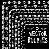 Linha crânio da coleção do Grunge do brushe ilustração royalty free