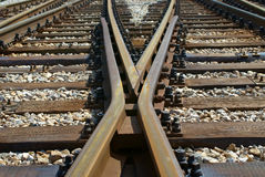 Linha cruzamento do trem Fotos de Stock Royalty Free