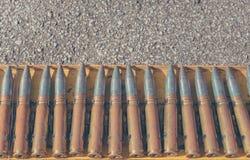 linha da bala na cremalheira de aço Fotografia de Stock